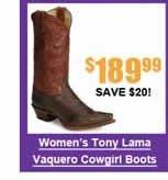 Women's Tony Lama 100% Vaquero Cowgirl Boots
