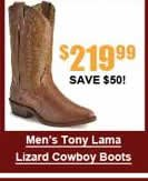 Men's Tony Lama Lizard Cowboy Boots