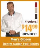 Men's Denim Collar Twill Western Shirt