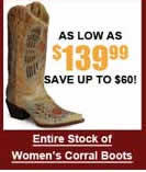 Entire Stock of Women's Corral Boots
