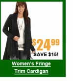 Women's Fringe Trim Cardigan