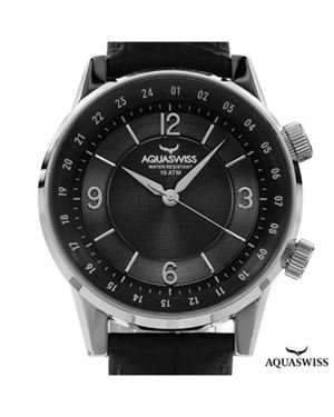 Brand New AQUASWISS Stainless Steel and Leather Watch