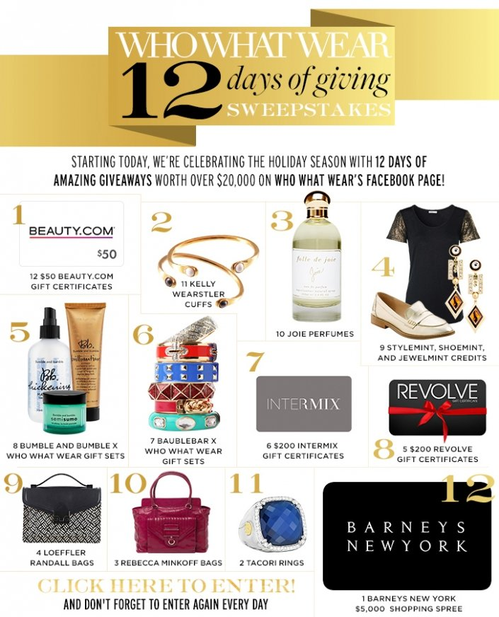 Enter to Win: Who What Wear 12 Days of Giving Sweepstakes
