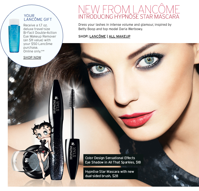 NEW FROM LANCÔME INTRODUCING HYPNÔSE STAR MASCARA - Dress your lashes in intense volume and glamour, inspired by Betty Boop and top model Daria Werbowy.