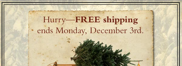 Hurry - Free shipping ends Monday, December 3rd.