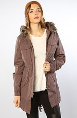 The Park It Convertible Hooded Fur & Sherpa Parka in Iron Grey
