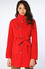 The Connell Poly Blend Coat in Red