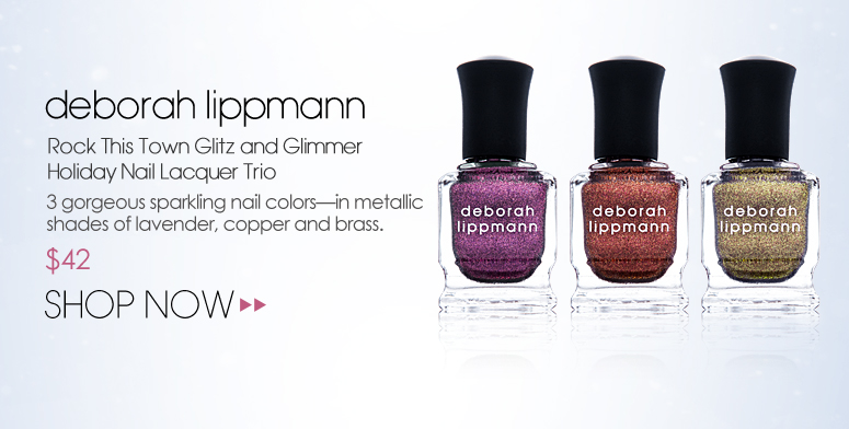 deborah lippmann Rock This Town Glitz and Glimmer Holiday Nail Lacquer Trio 3 gorgeous sparkling nail colors—in metallic shades of lavender, copper and brass. $42 Shop Now>>