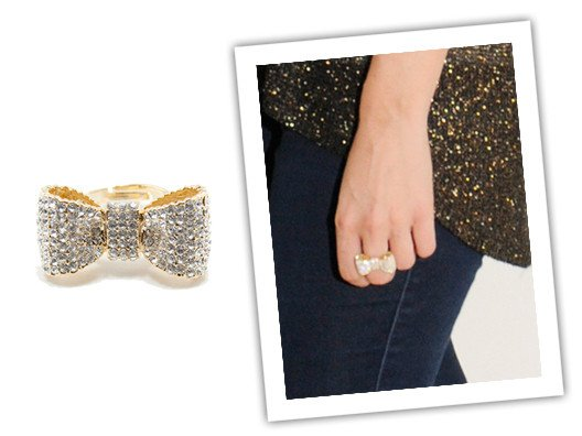 I'm all about getting decked out in sparkles this season, and this adorable bow ring is definitely a stunner!