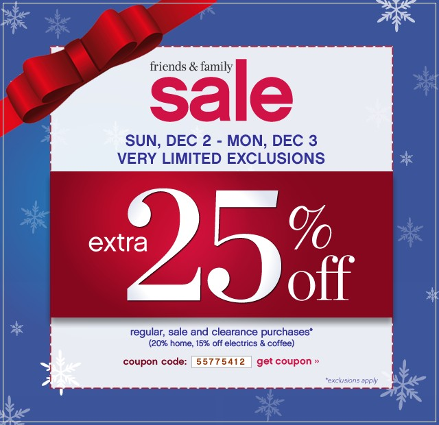 Friends and Family Sale. Sun, Dec 2 - Mon, Dec 3 Very Limited Exclusions. Extra 25% off. Get coupon.
