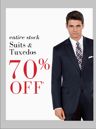 70% OFF* Suits & Tuxedos