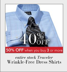 40% OFF* Traveler Wrinkle-Free Dress Shirts