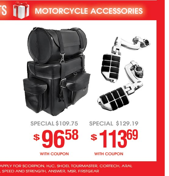 Motorcycle Accessories on Sale - Saddlebags, Aftermarket Parts