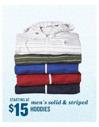 STARTING AT $15 | men's solid & striped HOODIES