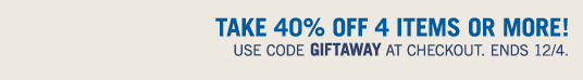 Take 40% Off 4 Items Or More! Use Code Giftaway at checkout!