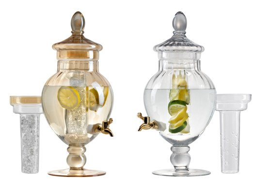 These gorgeous glass infusers are fabulous for serving one of my favorite cold-weather concoctions: the Frost Bite Spritz.