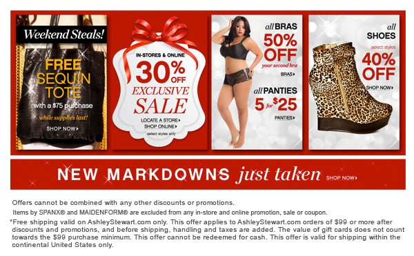 Take 30% off all Sale items,  50% off all Bras and Get 5 Panties for $25