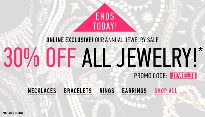 30% Off All Jewelry Ends Soon! - Shop Now