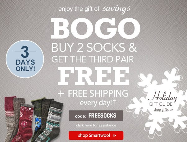 Buy 2, Get 1 Free Socks Sale!