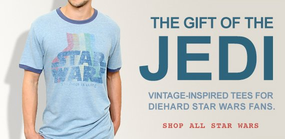 The gift of the jedi. Vintage-inspired tees for diehard star war fans. Shop all star wars.