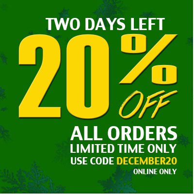 Two days left. 20% off all orders.