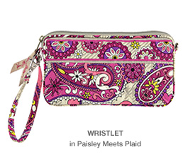 Wristlet in Paisley Meets Plaid