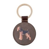 Paul Smith Keyrings - Airedale Terrier Print Leather Keyring
