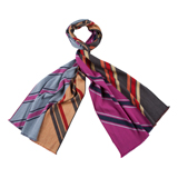 Paul Smith Scarves - Pink And Grey Diagonal Stripe Scarf
