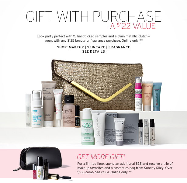 GIFT WITH PURCHASE - A $122 VALUE - Look party perfect with 15 handpicked samples and a glam metallic clutch—yours with any $125 beauty or fragrance purchase. Online only.**
