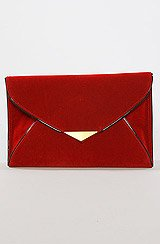 The Suede Envelope Clutch in Red