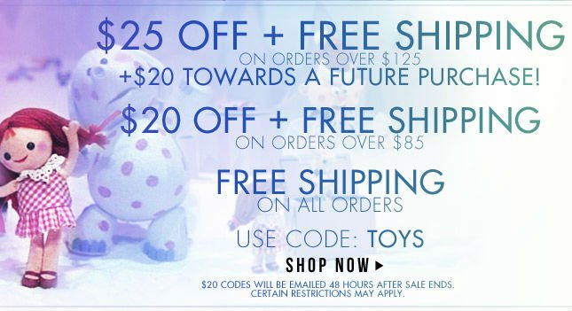 $25 Off + Free Shipping and $20 toward your next purchase