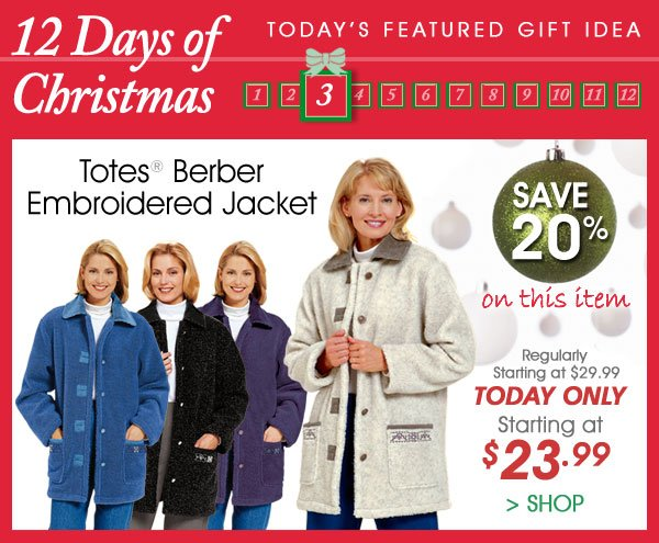 Today Only! Save 20% on Totes® Berber Embroidered Jacket - From $23.99