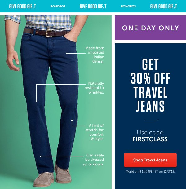 30% Off Travel Jeans