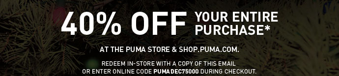 40% OFF YOUR ENTIRE PURCHASE*