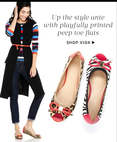 Up the style ante with playfully printed peep toe flats. Shop Vida
