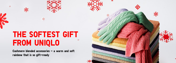 The softest gift from Uniqlo - Cashmere blended accessories - a warm and soft rainbow that is so gift-ready