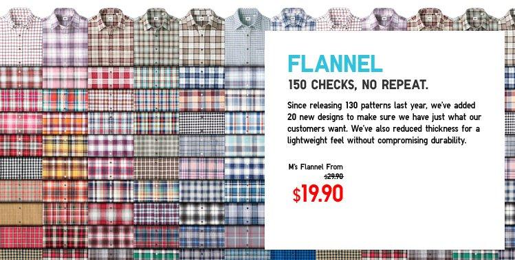 Flannel. 150 checks, no repeat.