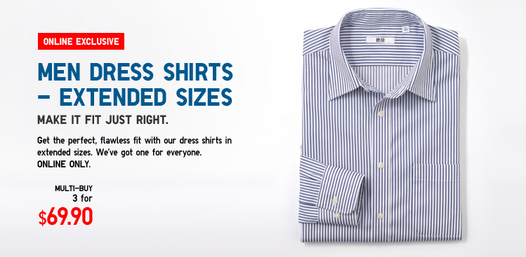 Online Exclusive - Multi Buy. Men Dress Shirts - Extended sizes.