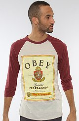 The Obey Whiskey Raglan in Heather Stone & Oxblood