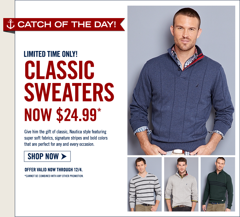 GRAB THEM BEFORE THEY'RE GONE! MEN'S SWEATERS NOW JUST $24.99 + FREE SHIPPING!