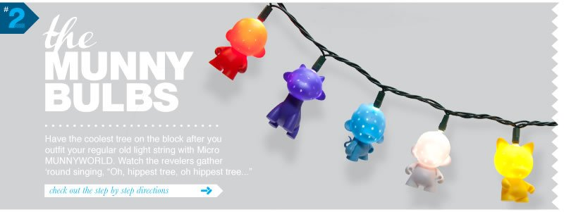 #2 The MUNNY Bulbs.  Have the coolest tree on the block after you ourfit your regular old light string with Micro MUNNYWORLD.  Watch the revelers gather 'round singing,