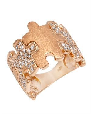 Signity Rose Gold Plated & CZ Puzzle Piece Ring