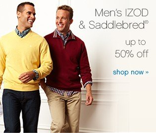 Men's IZOD and Saddlebred® up to 50% off. Shop now.