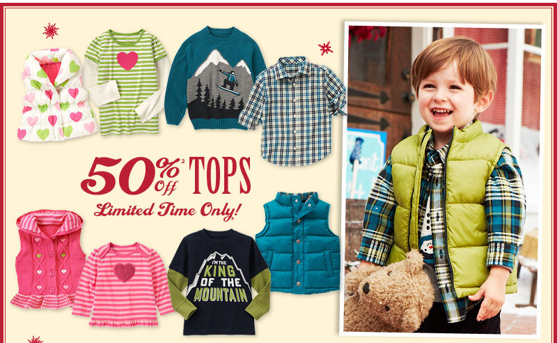 50% Off Tops(2). Limited Time Only!