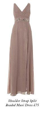 Shoulder Strap Split Beaded Maxi Dress