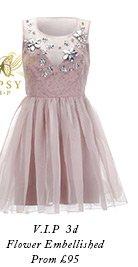 V I P 3d Flower Embellished Prom Dress