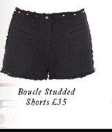 Boucle Studded Shorts