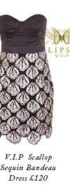 V I P Scallop Sequin Bandeau Dress