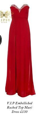 V I P Embellished Ruched Top Maxi Dress