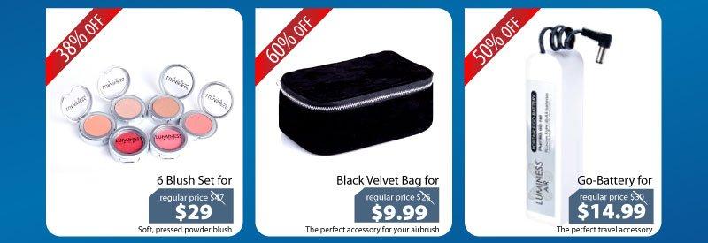 Purchase our 6 Blush Set for $29, Black Velvet Travel Bag for $9.99 or our Go-Battery for $14.99.